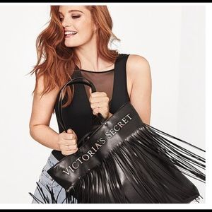Victoria's Secret Black Fringe Tote BAG/BNWT